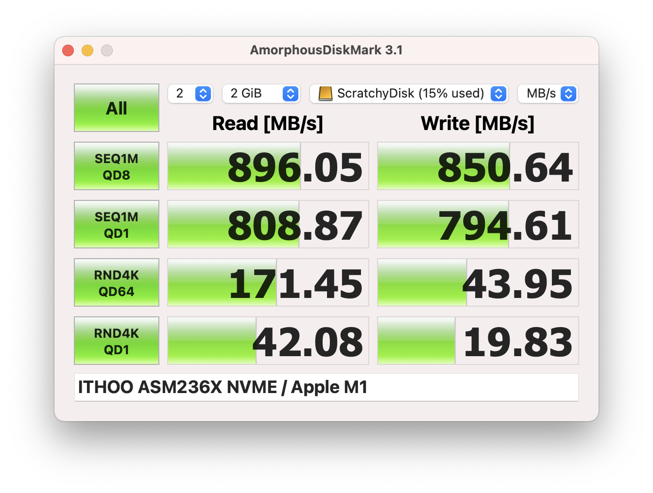 Write: 850.64MB/s, Read: 896.05MB/s