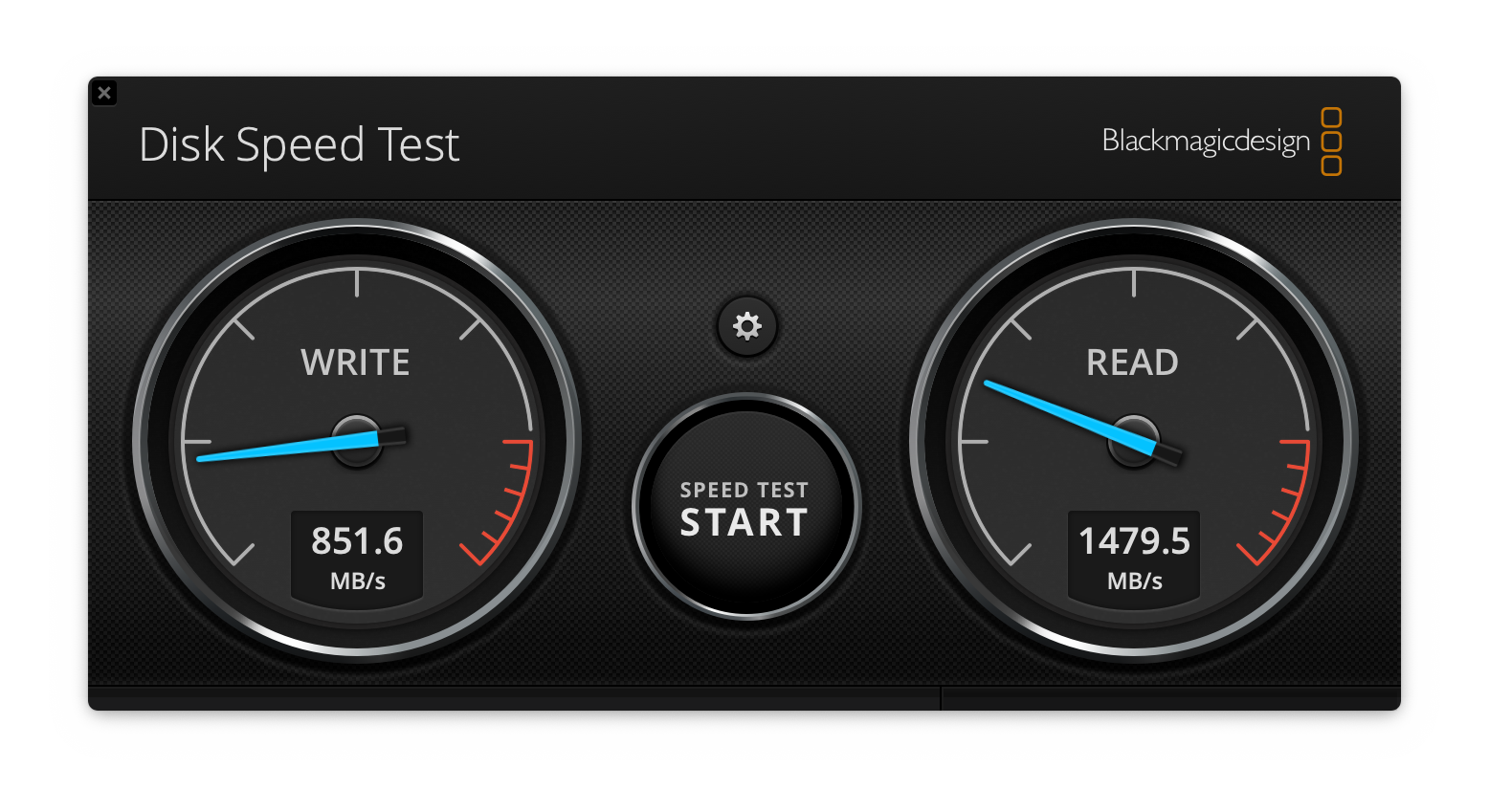 Write: 851.6MB/s, Read: 1479.5MB/s